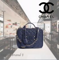 【CHANEL】Large vanity bag Grained calf smooth calf & golden