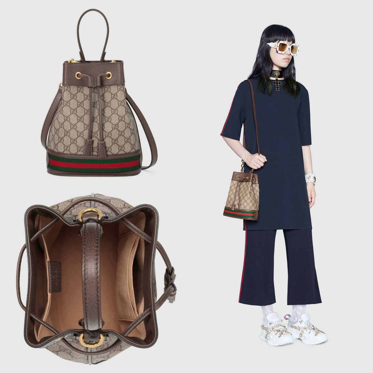 Shop Gucci Ophidia Ophidia Small Gg Bucket Bag 550621 96i3b 8745 By Moonswan Buyma
