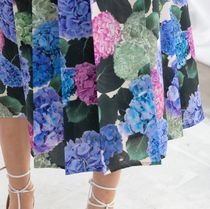 """& Other Stories"" Floral Pleated A-Line Midi Skirt Multi"