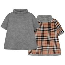 Girls Grey & Vintage Check Reversible Wool Poncho