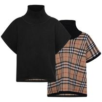 Girls Black & Vintage Check Reversible Wool Poncho