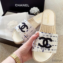CHANEL▼上品 ツイード & グログラン ☆ ロゴ入り ミュール