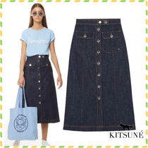 MAISON KITSUNE*黒DENIM BIANCA MIDI スカート