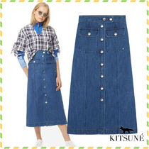 MAISON KITSUNE*ブルーDENIM BIANCA MIDI スカート