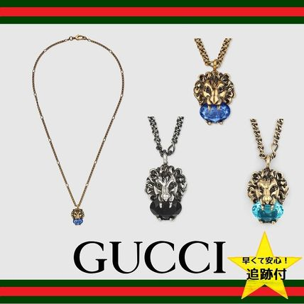 ★追跡有【GUCCI】Lion head necklace with crystal★