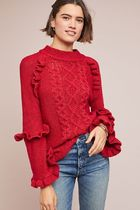 セール! BB DAKOTA Ruffled Cable-Knit Sweater