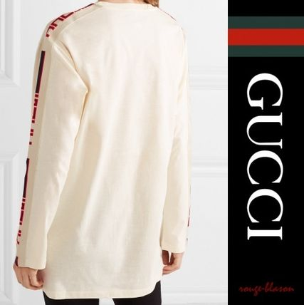 GUCCI Tシャツ・カットソー 【国内発送】GUCCI トップス Intarsia-trimmed embroidered top(2)