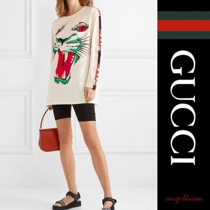 GUCCI Tシャツ・カットソー 【国内発送】GUCCI トップス Intarsia-trimmed embroidered top(3)