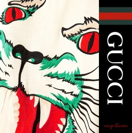 GUCCI Tシャツ・カットソー 【国内発送】GUCCI トップス Intarsia-trimmed embroidered top(4)