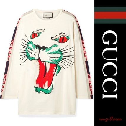 GUCCI Tシャツ・カットソー 【国内発送】GUCCI トップス Intarsia-trimmed embroidered top(5)