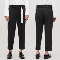 """COS"" BELTED TURN-UP WOOL TROUSERS BLACK"