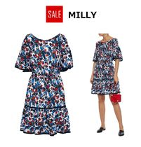 ★SALE★MILLY  ギャザー入り プリント シルク ワンピース