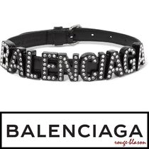 【国内発送】Balenciaga チョーカー Leather, metal and crystal