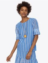 Tory Burch EMBROIDERED ORGANZA T-SHIRT