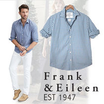 frankandeileen paul WASHED BLUE CHECK, ITALIAN POPLIN