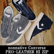 nonnative × CONVERSE PRO-LEATHER HI ZIP グレイ&ネイビー