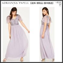【海外限定】AdriannaPapellガウン☆Illusion-Sleeve Beaded A-L