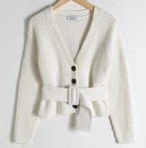 "& Other Stories(アンドアザーストーリーズ) カーディガン ""& Other Stories"" Belted V-Neck Cotton Cardigan White"