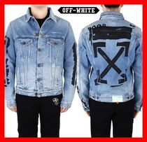 関税負担★【Off-White】★VINTAGE WASHED SLIM DENIM JACKET★