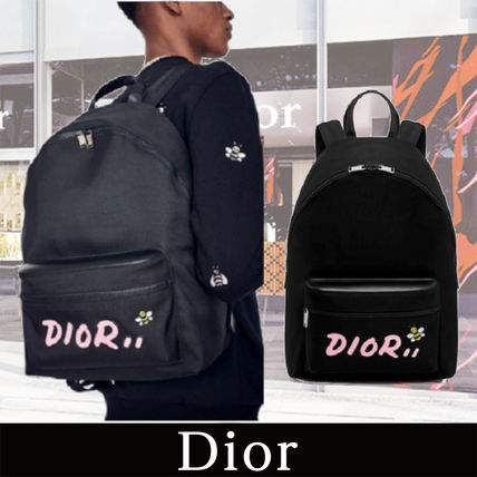 DIOR HOMME Dior x KAWS Black Nylon Backpack with Pink logo