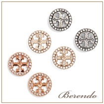 国内発送◆Tory Burch Crystal Logo Circle Stud ピアス