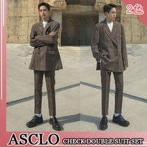 ASCLO★韓国の人気★フィットのスーツ CHECK DOUBLE SUIT 2色