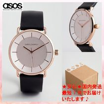 【ASOS】watch in black with minimal rose gold case and dial