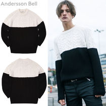ANDERSSON BELL★Cable Contrast Sweater atb052  - IVORY -M
