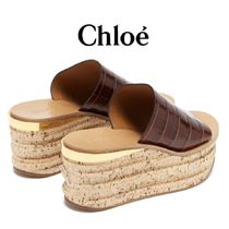 【19SS】★Chloe★Camille crocodile-effect leather sandals