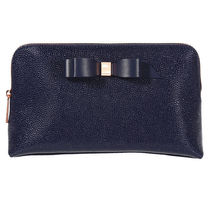 ★TED BAKER★Elois リボン レザー メイクアップポーチ/ Navy