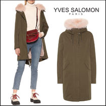 YVES SALOMON(イヴサロモン) ムートン・ファーコート YVES SALOMON★Fur-trimmed cotton-blend parka