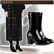 ◆GUCCI 19Cruise最新作◆Black patent leather◆ミドルブーツ◆