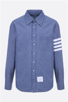 THOM BROWNE シャツ ☆THOM BROWNE☆cotton chambray shirt with 4-bar detail