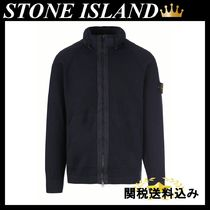 STONE ISLAND cotton blend full-zip pullover with logo badge