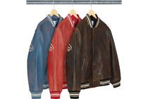 Supreme Worn Leather Varsity Jacket
