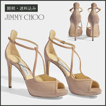 【Jimmy Choo】 FAWNE 100 GLITTER SANDALS ヒールサンダル