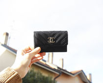 CHANEL STITCH LIGHT GOLD LOGO CARD CASE
