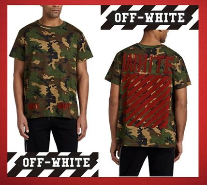 SALE◆OFF-WHITE Flocked Camouflage-Print Cotton T-Shirt