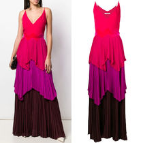 19SS G423 COLOR BLOCK PLEATED EVENING DRESS