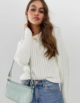 ASOS DESIGN stitch detail jumper with puff sleeve