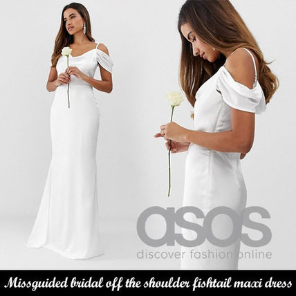 ASOS新作◆Missguided off the shoulder fishtail maxi dress