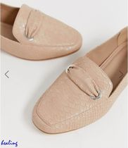 ★ASOS★ DESIGN Wide Fit Mile flat shoes in beige croc