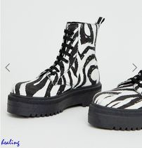 ★ASOS★DESIGN Attitude chunky lace up boots in zebra