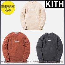 KITH★PIGMENT DYED SERIF LOGO L/S★ロゴ入り長袖トップス