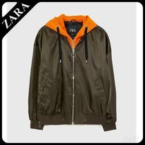 ☆ Men's ZARA☆ HOODED BOMBER JACKET WITH CONTRAST LINING