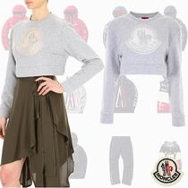 MONCLER GAMME ROUGE ショート丈 クロップ スウェット Gray ロゴ