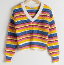 """""""& Other Stories""""Cropped Striped Cotton Blend Sweater"""