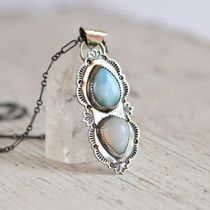 Silver Jewelry♢Larimar&Opal Necklace