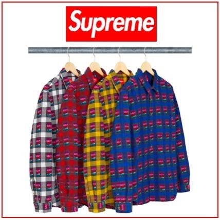790e2a71 Supreme シャツ Supreme Rose Buffalo Plaid Shirt White Red Yellow Royal ...