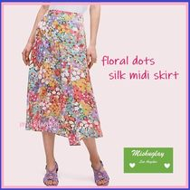【kate spade】日本未入荷★floral dots silk midi skirt★